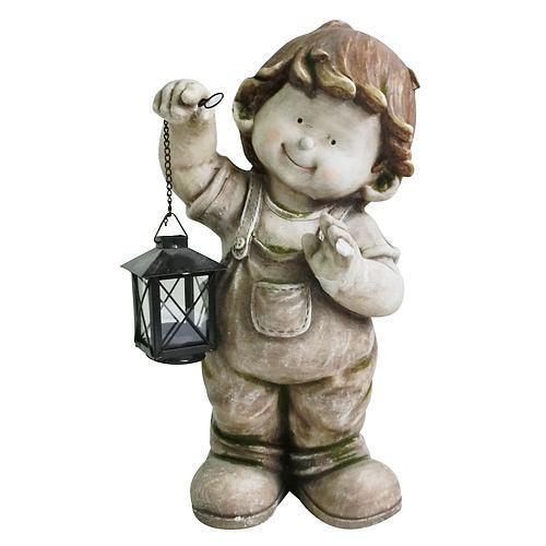 Dekorácia Chlapec s lampášom 43 cm, Gecco 8001,magnesia