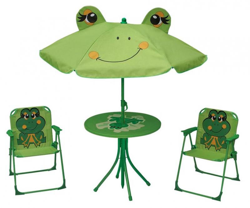 Zahradný set pre deti LEQ MELISENDA Rana, žaba, slnečník 105 cm, stôl 50 cm, 2 stoličky