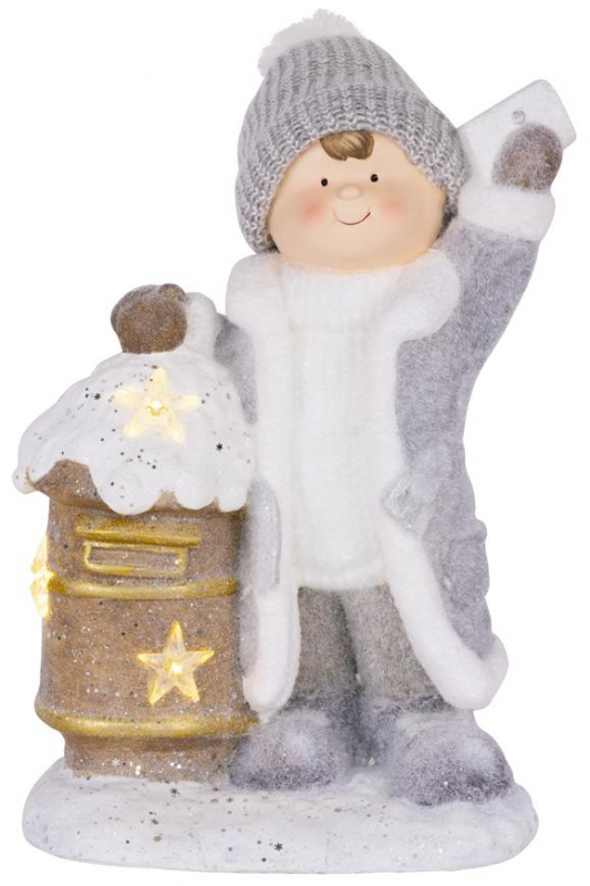 Vianočná dekorácia Chlapček so schránkou